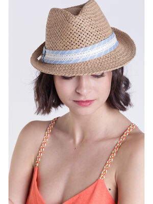 Chapeau tresse avec dentelle sable femme