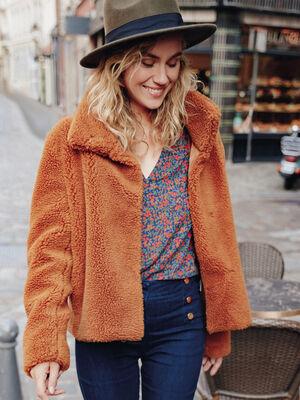 Manteau droit effet pelucheux marron femme