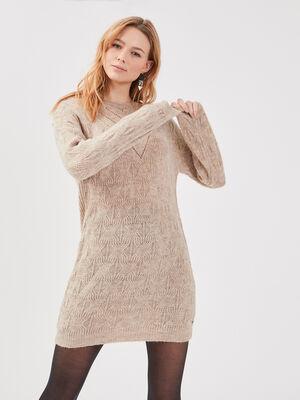 Robe pull droite beige femme