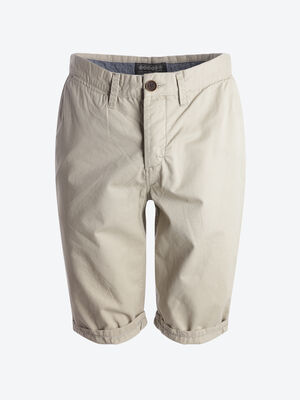 Bermuda chino droit coton beige homme