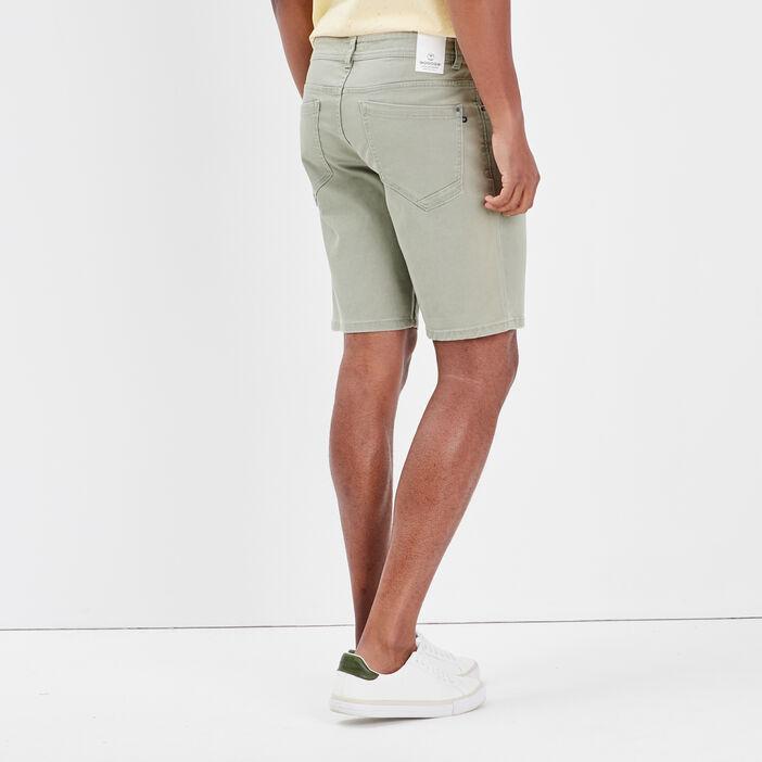 Bermuda droit en jean vert kaki homme
