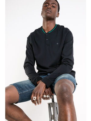 Polo col raye maille unie bleu fonce homme