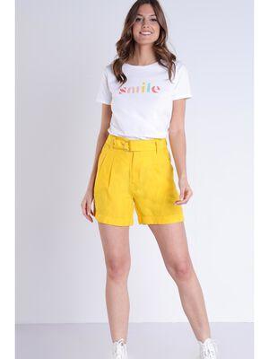 Short droit taille standard jaune femme