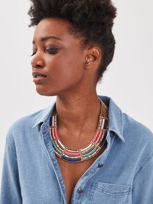 Collier multi rangs perles couleur or femme