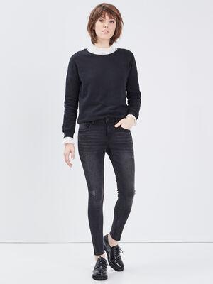 Jeans skinny details delaves denim gris femme