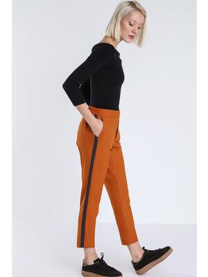 Pantalon droit city taille haute orange fonce femme