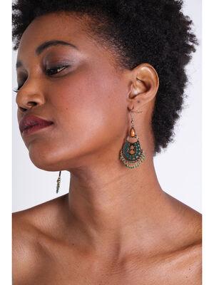 Boucles doreilles ethnique et perles vert fonce femme