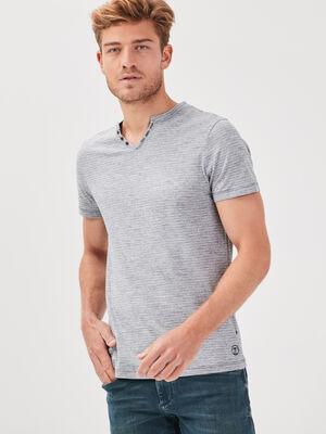 T shirt eco responsable bleu gris homme