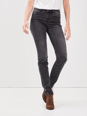 Jeans slim avec details zippes denim gris femme