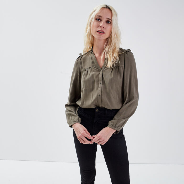 Chemise éco-responsable vert kaki femme
