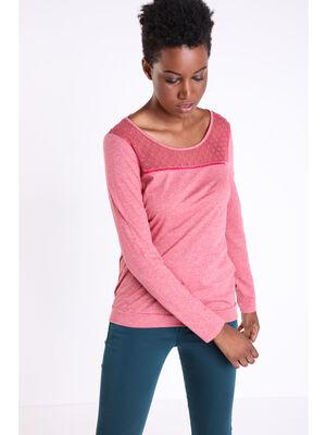 T shirt bi matiere plumetis vieux rose femme