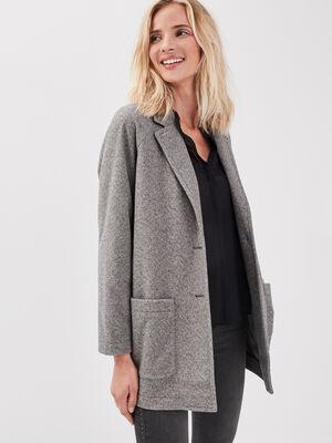 Manteau ample boutonne gris fonce femme