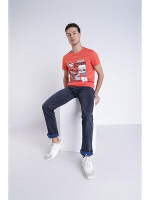 T shirt graphique rouge homme