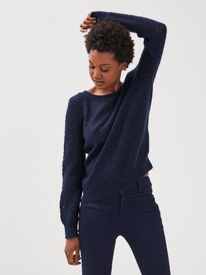 Pull manches longues bleu fonce femme