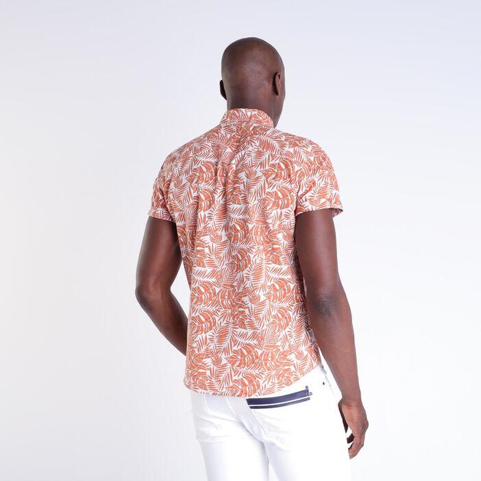 Chemise imprimée orange homme