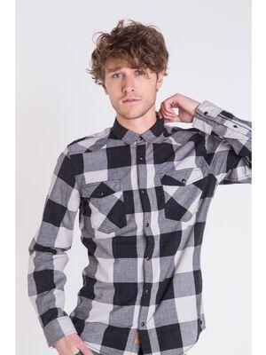 chemise droite homme carreaux instinct noir