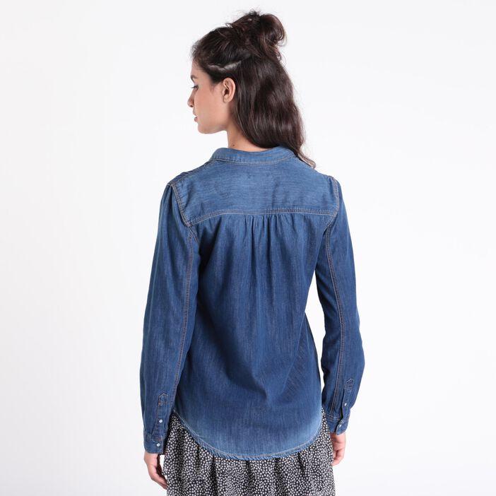 Chemise manches longues denim stone femme