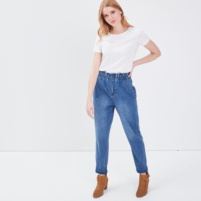 Jeans Slouchy taille haute denim stone femme