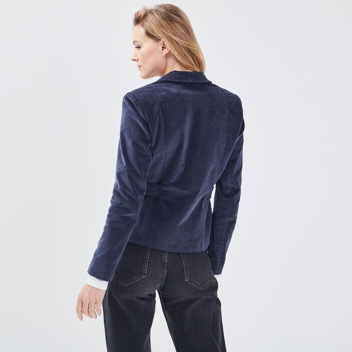 Veste droite effet velours bleu foncé femme