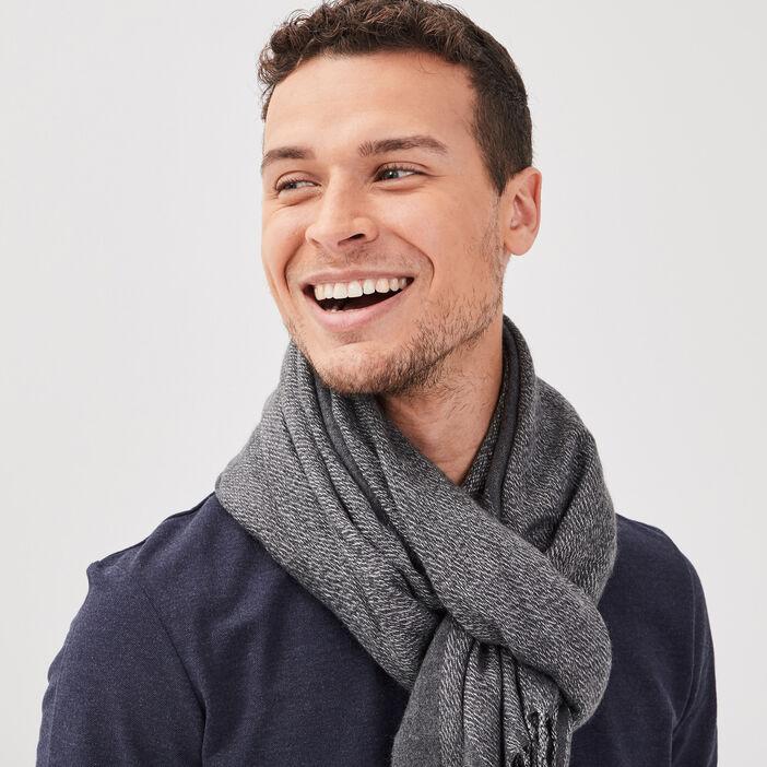 Écharpe à franges gris foncé homme