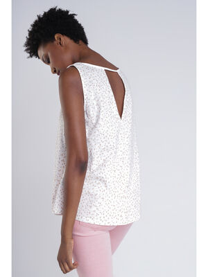 T shirt sans manches blanc femme