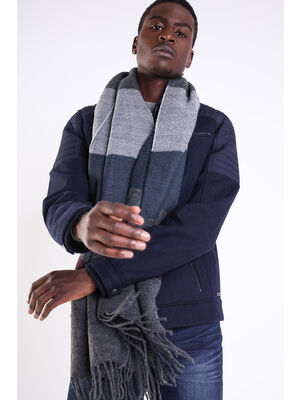 charpe rayee en maille chinee gris fonce homme