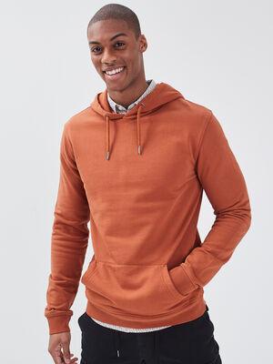 Sweat manches longues marron cognac homme