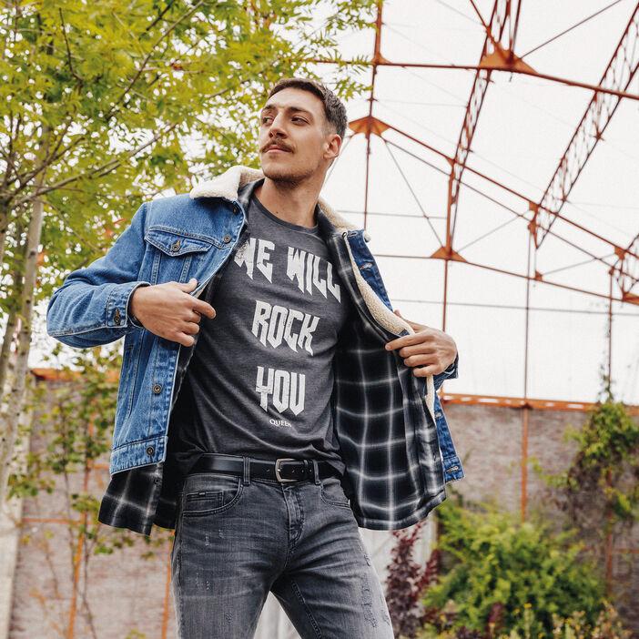 T-shirt manches courtes Queen gris foncé homme