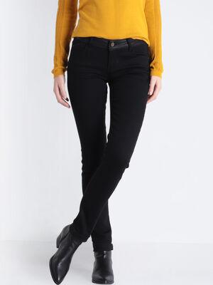 Jeans slim ceinture envers denim noir femme