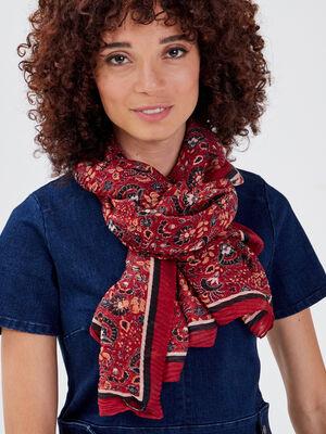 Foulard plisse rouge fonce femme