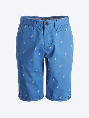 Bermuda chino droit coton bleu homme