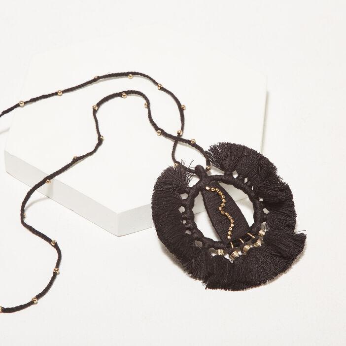Collier pendentif à pampilles noir femme