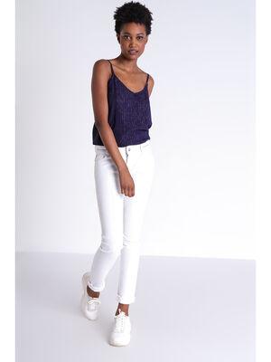 Jeans slim details zippes blanc femme