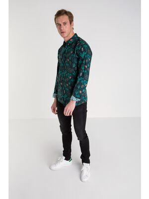 chemise col milan homme motif vegetal bleu fonce