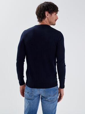 Pull 100 laine merinos bleu marine homme