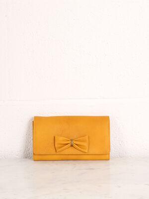 Portefeuille avec noeud jaune citron femme