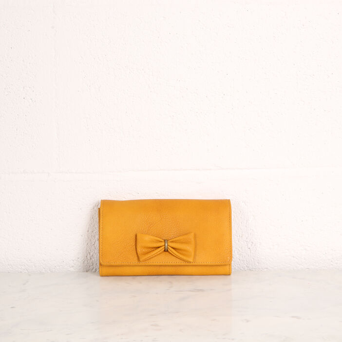 plus récent 22957 5a226 Portefeuille avec nœud jaune citron femme | Vib's