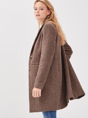 Manteau droit boutonne marron femme