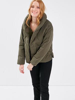 Doudoune droite vert kaki femme