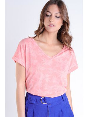 T shirt imprime rose clair femme