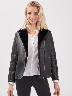 Manteau droit col aviateur noir femme