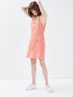 Robe evasee a bretelles rose saumon femme