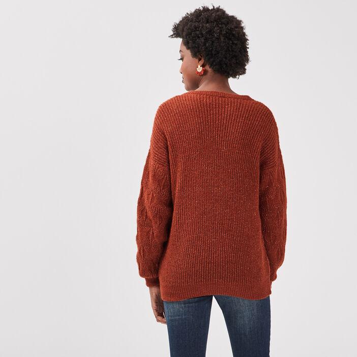 Pull manches longues marron cognac femme