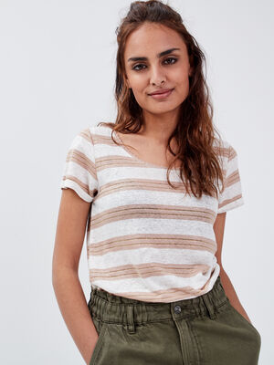 T shirt manches courtes taupe femme