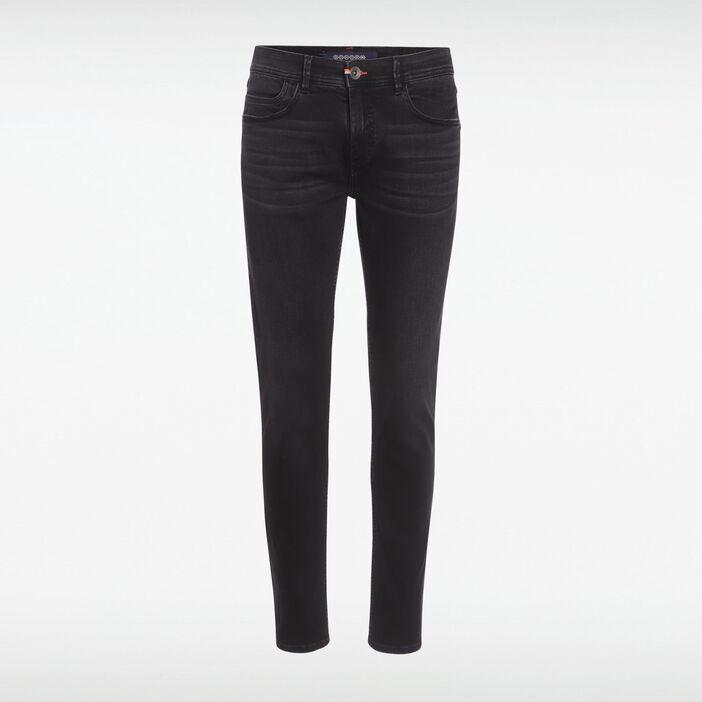 Jeans slim effet used denim noir homme