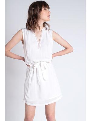 Robe droite sans manche nouee blanc femme