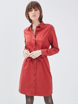 Robe droite ceinturee orange fonce femme