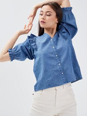 Chemise manches 34 en jean denim used femme