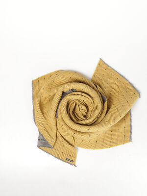 Foulard en maille gaufree imprimee jaune or femme