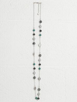 Collier perles couleur argent femme